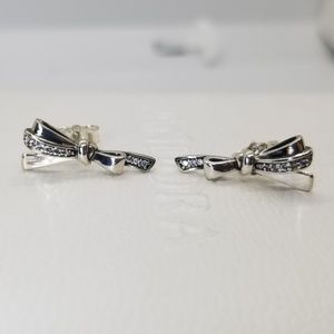 Pandora Silver Brilliant Bow CZ Stud Earrings new